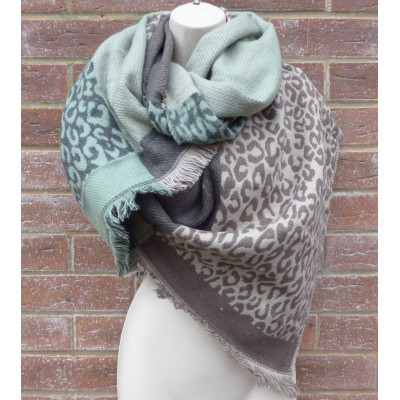 Leopard Panel Wrap (Duck Egg / Taupe)