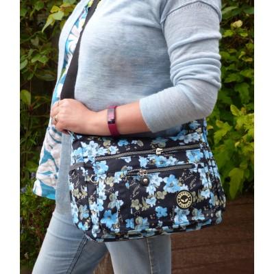 Multi-Purpose Medium Crossbody Bag - Blue Blossom (Black)