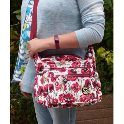 Multi-Purpose Medium Crossbody Bag - Poppies (White / Red)