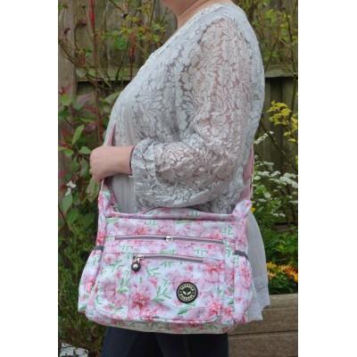 Multi-Purpose Medium Crossbody Bag - Pink Glitter Floral