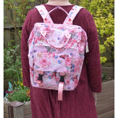 Set of 3 - Backpack/Shopper/Cosmetics - Butterfly/Rose