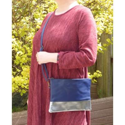 Colour Block Bag (Navy / Silver)