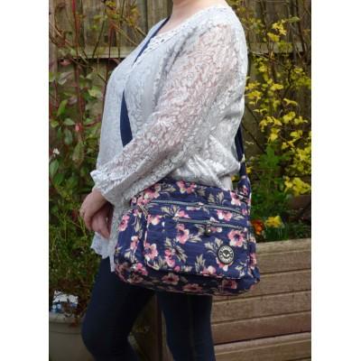 Multi-Purpose Medium Crossbody Bag - Blue Stripe Pink Flowers