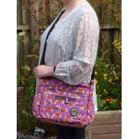 Multi-Purpose Medium Crossbody Bag - Pink With Yellow Flowers