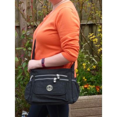 Multi-Purpose Medium Crossbody Bag - Plain Black