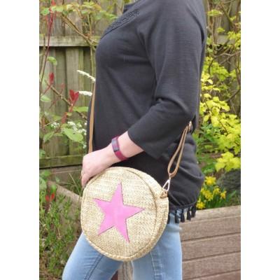 Round Straw Effect Star Bag