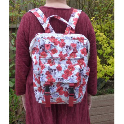 Set of 3 - Backpack/Shopper/Cosmetics - Skull/Rose