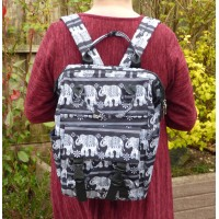 Set of 3 - Backpack/Shopper/Cosmetics - Elephants