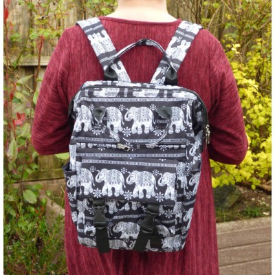 Set of 3 - Backpack/Shopper/Cosmetics - Elephants