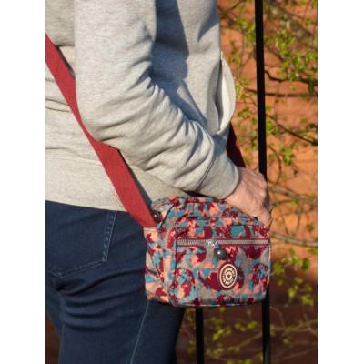Multi-Purpose Small Crossbody Bag - Bright Camo (Coral / Blue)