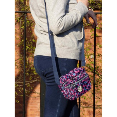 Multi-Purpose Small Crossbody Bag - Navy / Purple Stars