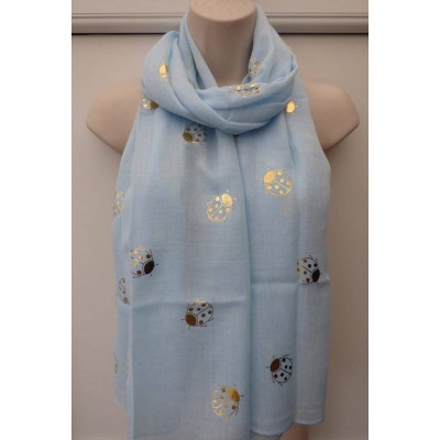 Gold Sparkle Ladybirds (Light Blue)