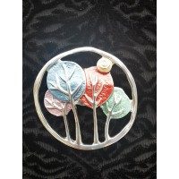 Magnetic Circular Trees Scarf Brooch (Multicoloured)