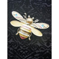Magnetic Bee Scarf Brooch (Gold / Multicoloured)