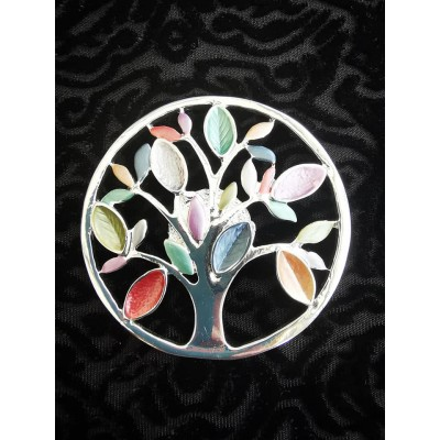 Magnetic Colourful Tree of Life Scarf Brooch (Multicoloured)