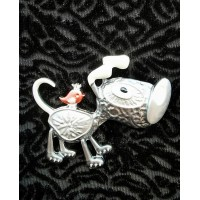 Magnetic Dog & Bird Scarf Brooch (Pewter)