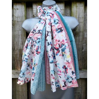 Organic Cotton Oversized Butterfly Border (White / Pink / Teal)