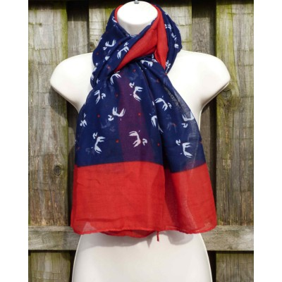 Poodle Border (Navy / Red)