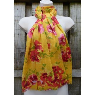 Lightweight Frayed Edged Watermark Poppies (Yellow)