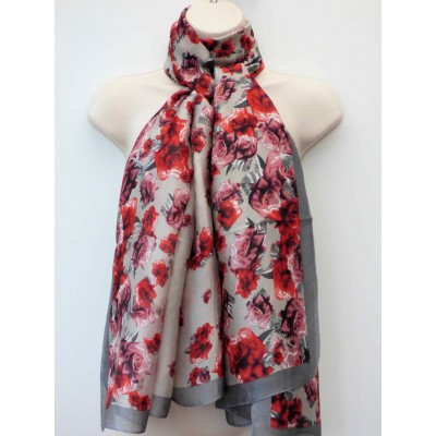 Silk Scattered Roses (Grey)