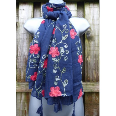 Tasselled Embroidered Poppies (Navy)
