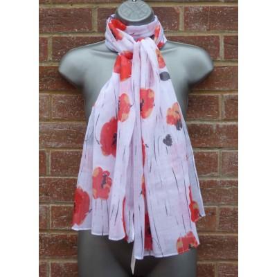 Watercolour Poppies J95625 (White)
