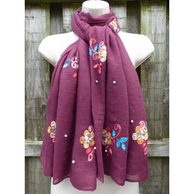 Scattered Pearl Floral Embroidery (YC0909)