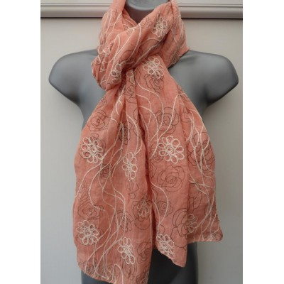 Vogue Floral Embroidery (Peach)