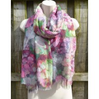 Abstract Painted Floral 21004 (Green / Pink)