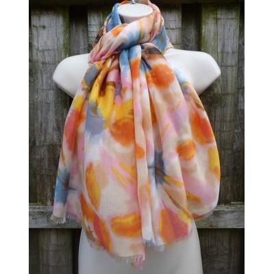 Blurred Abstract Floral LS10 (Cream / Orange)