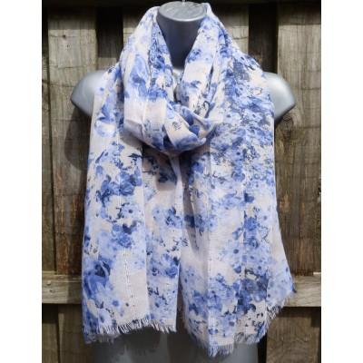 Blurred Sequin Floral M2646 (Blue / Cream)
