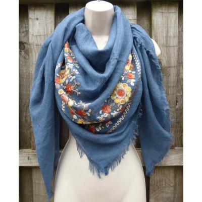 Embroidered Corner Square Scarf