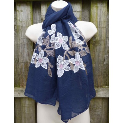 Embroidered Flowers YC0720 (Navy)