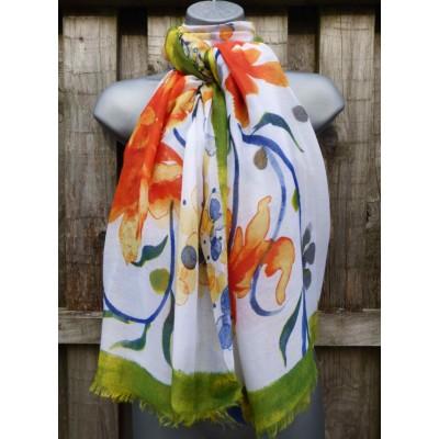Floral Vine LS0520 (White / Orange / Green)
