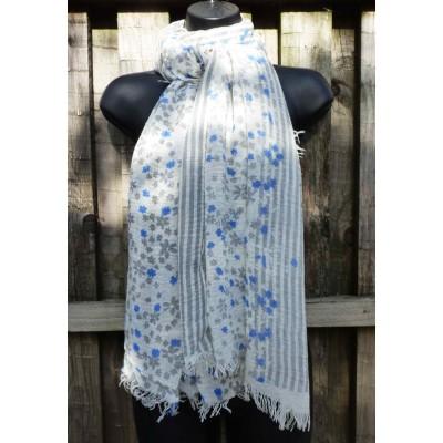Frayed Edged Striped Floral (Grey / Blue)