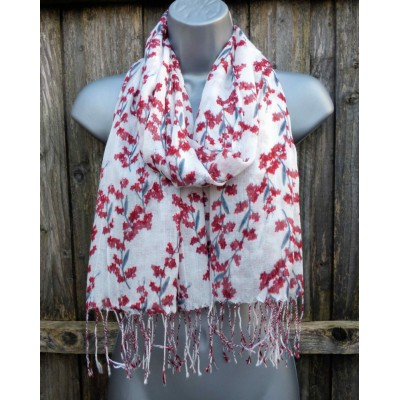 Lightweight Fringed Floral 1358 (White / Red)