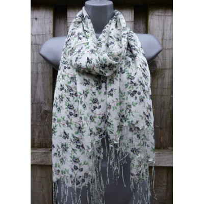 Lightweight Fringed Floral 22 (White / Green)