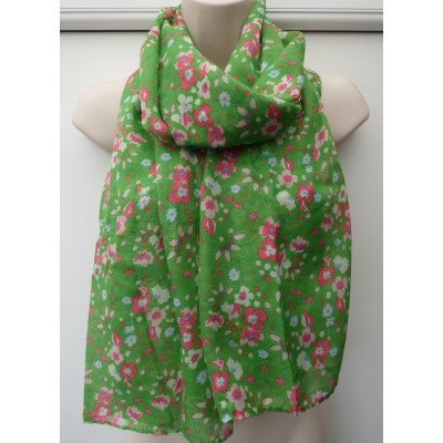 Narrower Width Green Floral