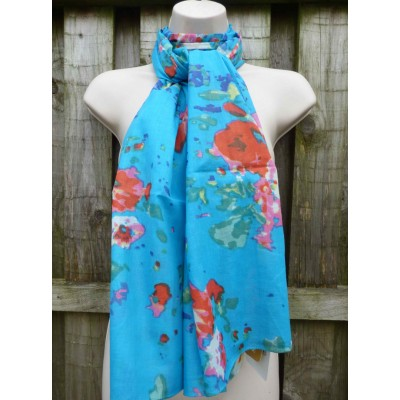 Organic Cotton Floral (Turquoise)