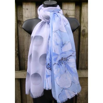 Silver Highlight Floral Polka (Blue / White / Grey)