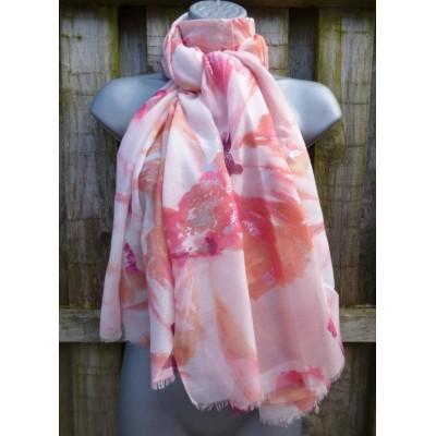 Silver Splash Abstract Floral LS34 (Orange / Pink)