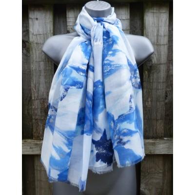 Silver Splash Floral 9084 (White / Blue)