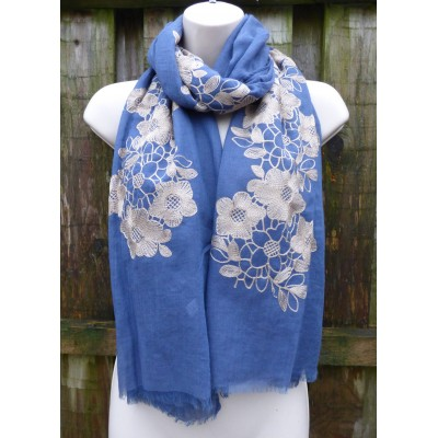 Single Edge Floral Embroidery (Blue)