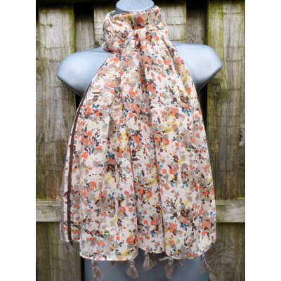Tasselled Ditsy Flowers LS26 (Cream / Brown / Orange)