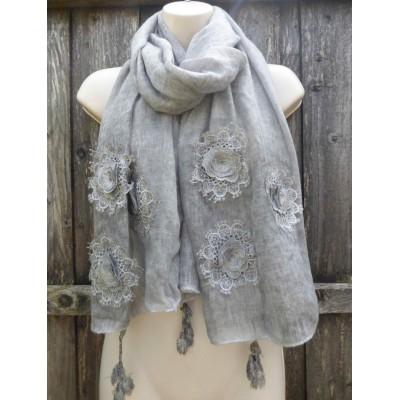 Tasselled Marle Floral Crochet 9004 (Grey)