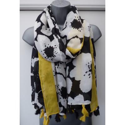 Tassled Floral 9038 (Yellow/Black)