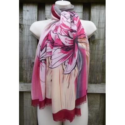 Tie Dye Blooms 0850 (Cream / Burgundy)