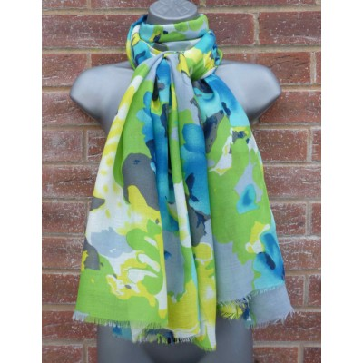 Turquoise & Lime Blurred Flowers (2878)