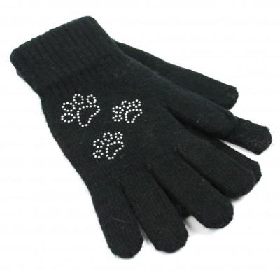 Sparkle Pawprint Gloves (Black)