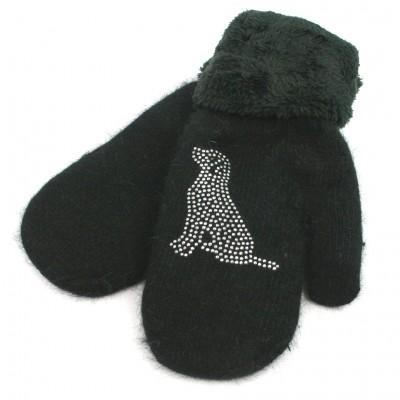 Sparkle Sitting Dog Faux Fur Trimmed Mittens (Black)